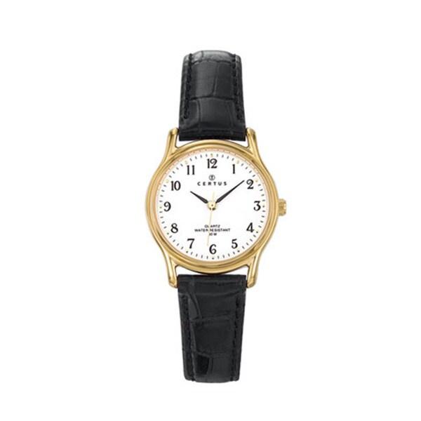 Certus Paris Women's Brass Black Calfskin White Dial Watch
