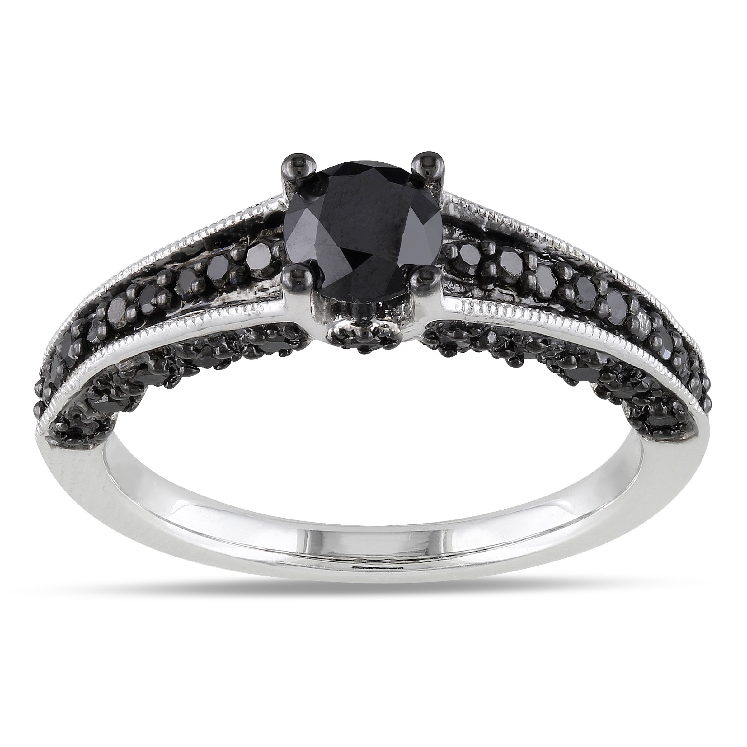 Miadora Sterling Silver 1ct TDW Round-cut Black Diamond Ring