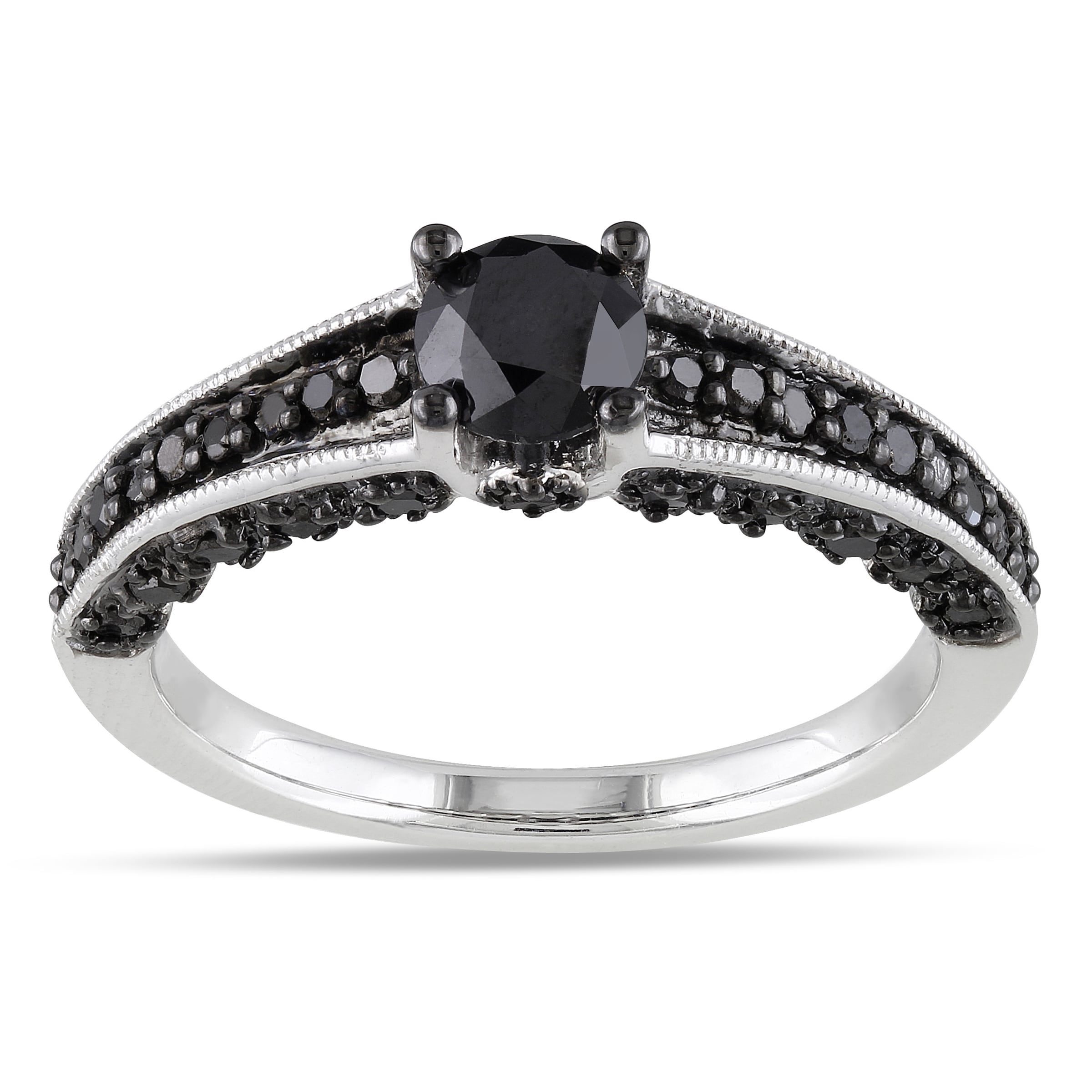 miadora sterling silver 1 1 8ct tdw black diamond bridal ring set