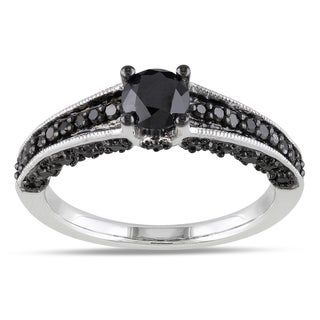 Miadora Sterling Silver 1ct TDW Round-cut Black Diamond Ring with Bonus Earrings