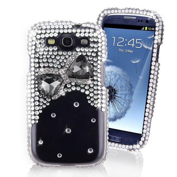 BasAcc Silver/ Black Bow Diamond Case for Samsung Galaxy S III i9300