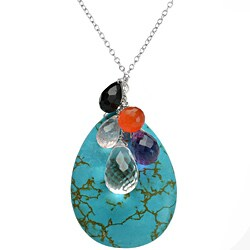Ashanti Multi-Gemstone Briolette Pendant with 18-Inch Chain (Sri Lanka)