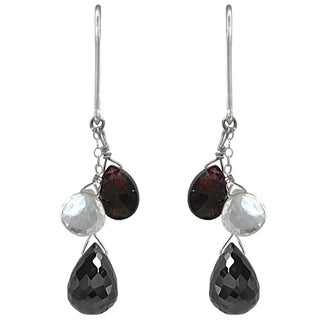 Ashanti Sterling Silver Black Spinel, Rhodolite Garnet and Rock Crystal Briolette Dangle Earrings (Sri Lanka)