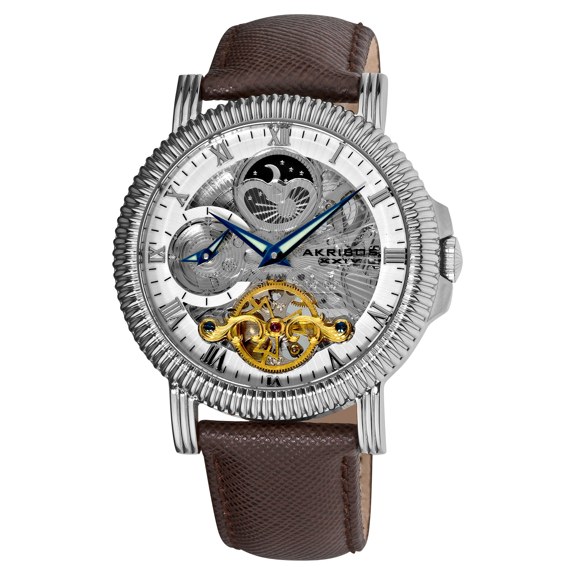 Akribos XXIV Men's Automatic Dual-Time Skeleton Brown-Strap Round Watch