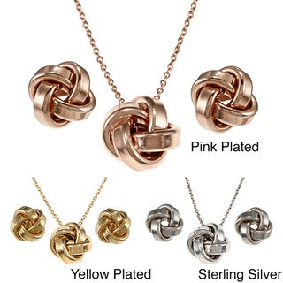 Fremada Plated Sterling Silver Love Knot Earring, Necklace or Set