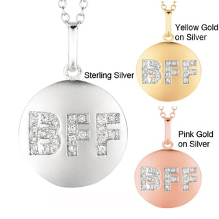 Sterling Silver Diamond Accent 'BFF' Disc Necklace