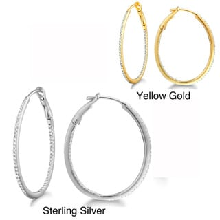 Sterling Silver 1/4ct TDW Diamond Pave Hoop Earrings (H-I, I2-I3)