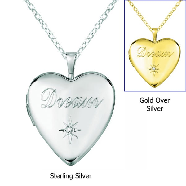 Sterling Silver Diamond Accent Heart Engraved 'Dream' Locket Necklace