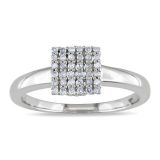 Miadora 10k White Gold 1/6ct TDW Diamond Ring (H-I, I2-I3) with Bonus Earrings