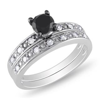 Miadora 10k Gold 1ct TDW Black and White Diamond Bridal Ring Set (H-I, I2-I3)