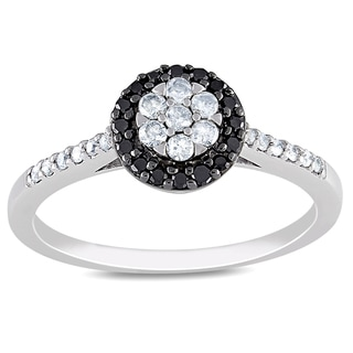 Miadora 10k Gold 1/4ct TDW Black and White Diamond Ring (H-I, I2-I3)