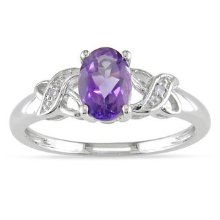 Miadora 10k White Gold Oval-cut Amethyst and Diamond Accent Ring