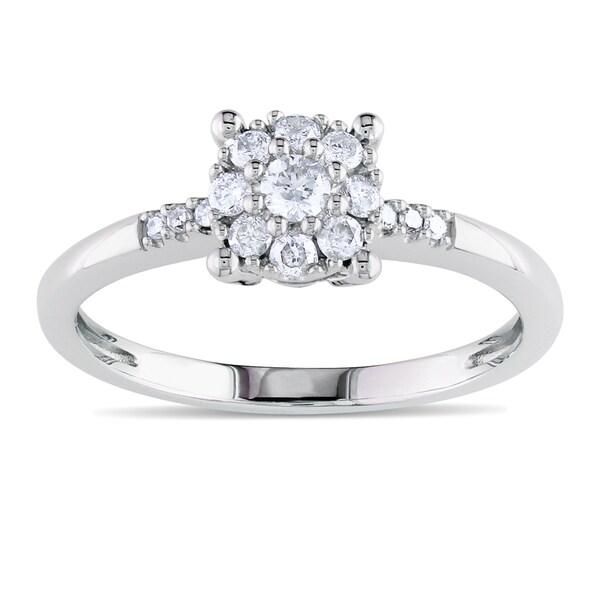 Miadora 10k White Gold 1/4ct TDW Diamond Ring (H-I, I2-I3)