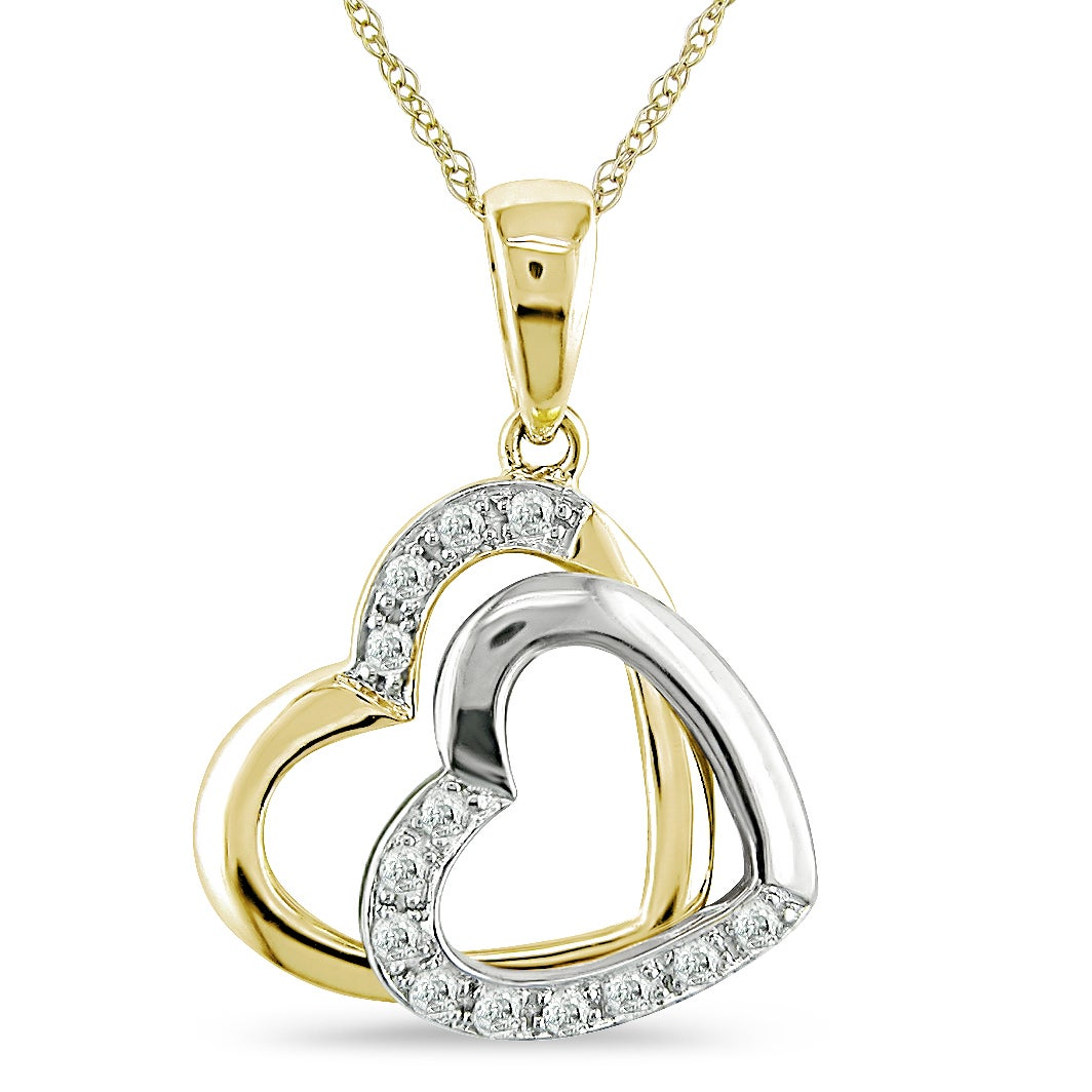 Miadora 10k Two-tone Gold Diamond Accent Double Heart Necklace