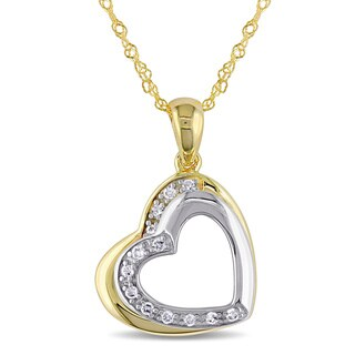 Miadora 10k Two-tone Yellow and White Gold Diamond Accent Double Heart Necklace