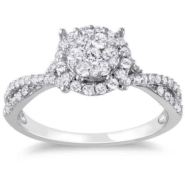 Miadora 10k White Gold 1/2ct TDW Diamond Halo Ring (H-I, I2-I3)