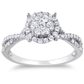 Miadora 10k White Gold 1/2ct TDW Halo Diamond Ring
