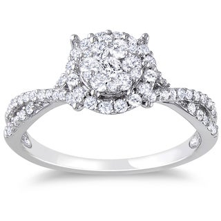 Miadora 10k White Gold 1/2ct TDW Round Halo Diamond Ring