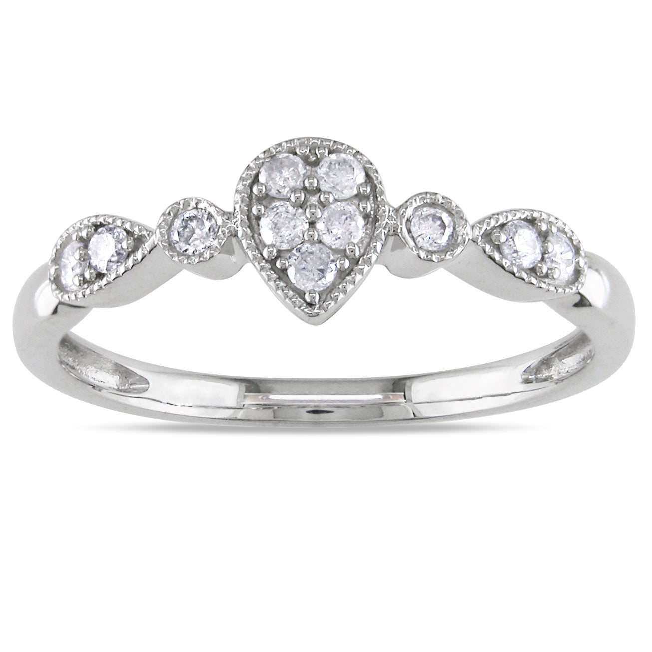 Miadora 10k White Gold 1/6ct TDW Round-cut Diamond Ring (H-I, I2-I3)