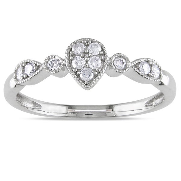 Haylee Jewels 10k White Gold 1/6ct TDW Round-cut Diamond Ring (H-I, I2-I3)