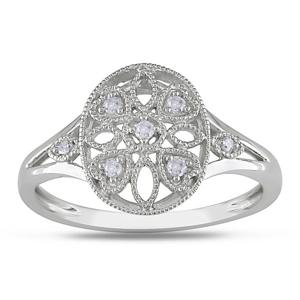 Miadora 10k White Gold Round-cut Diamond Accent Ring