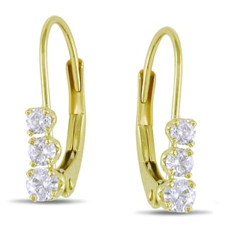Miadora 14k Yellow Gold 1/4ct TDW Diamond 3-stone Earrings (I-J, I2-I3)