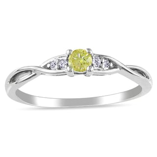 M by Miadora Sterling Silver Yellow and White Diamond Ring with Bonus Earrings