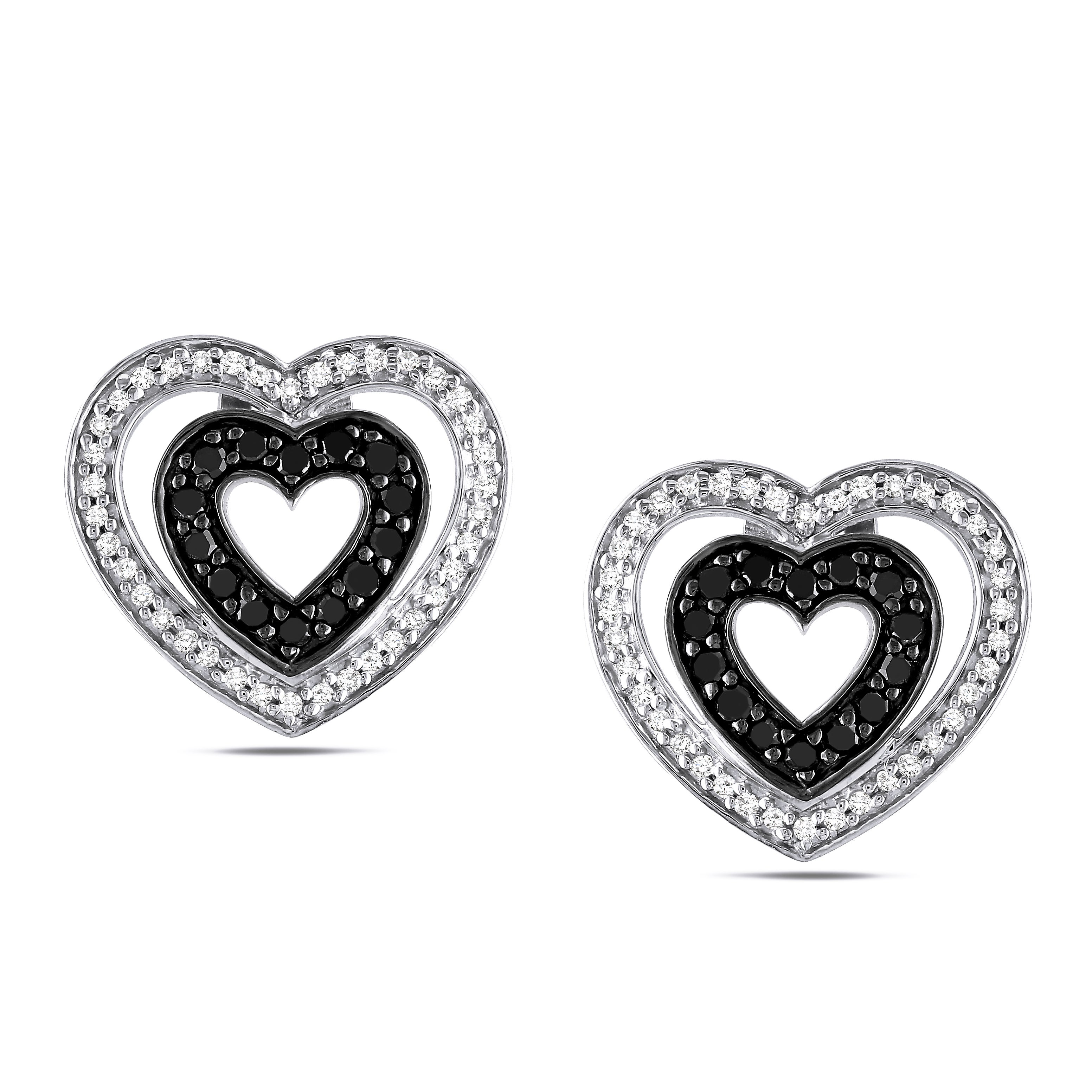 Miadora Silver 1/2ct TDW Black and White Diamond Earrings (H-I, I2-I3)