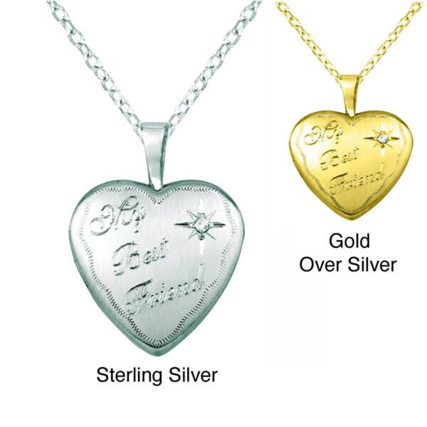 Sterling Silver Diamond Accent 'My Best Friend' Heart Locket Necklace
