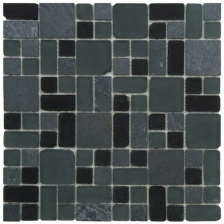 SomerTile 11.75x11.75-inch Reflections Versailles Superior Glass and Stone Mosaic Tiles (Case of 10)