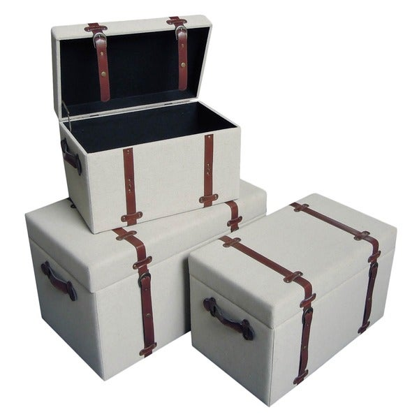 International Caravan Vintage Antique Upholstered Trunks with Faux Leather Decor (Set of 3)