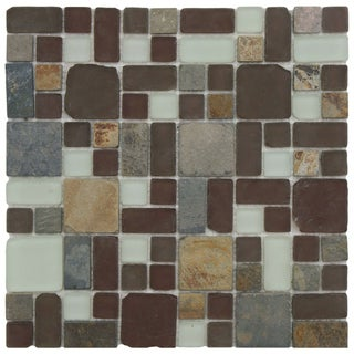 SomerTile Reflections Versailles Huron Glass Stone Mosaic Tiles 11.75 x 11.75 (Case of 10)