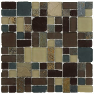 SomerTile 11.75x11.75-inch Reflections Versailles Erie Glass and Stone Mosaic Tiles (Case of 10)