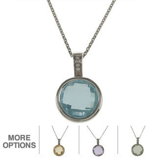 Sterling Silver Round Briolette Gemstone and Diamond Accent Necklace