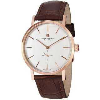 Revue Thommen Men's 'Classic' Silver Dial Brown Strap Automatic Watch