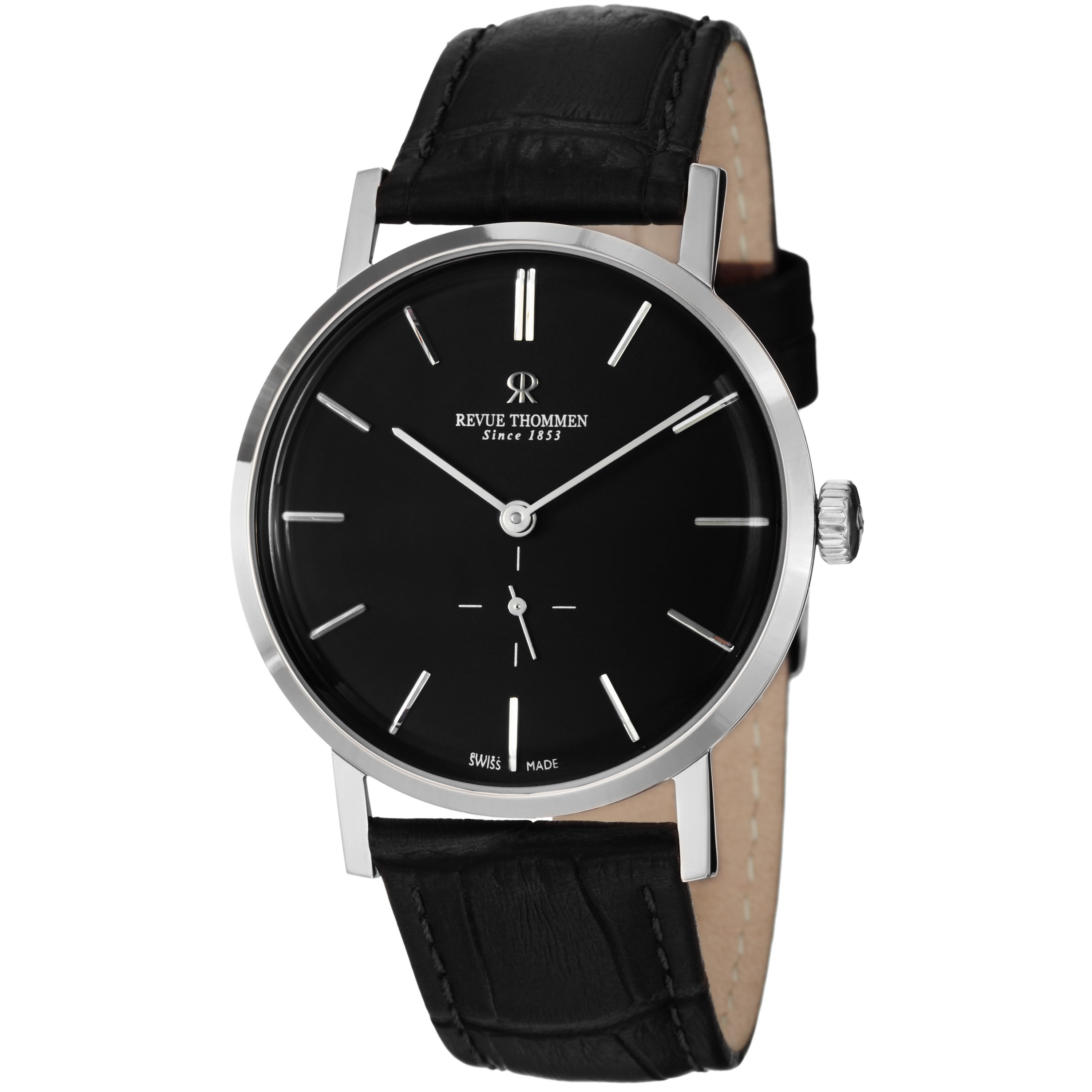Revue Thommen Men's 17090.3537 'Classic' Black Dial Black Strap Automatic Watch
