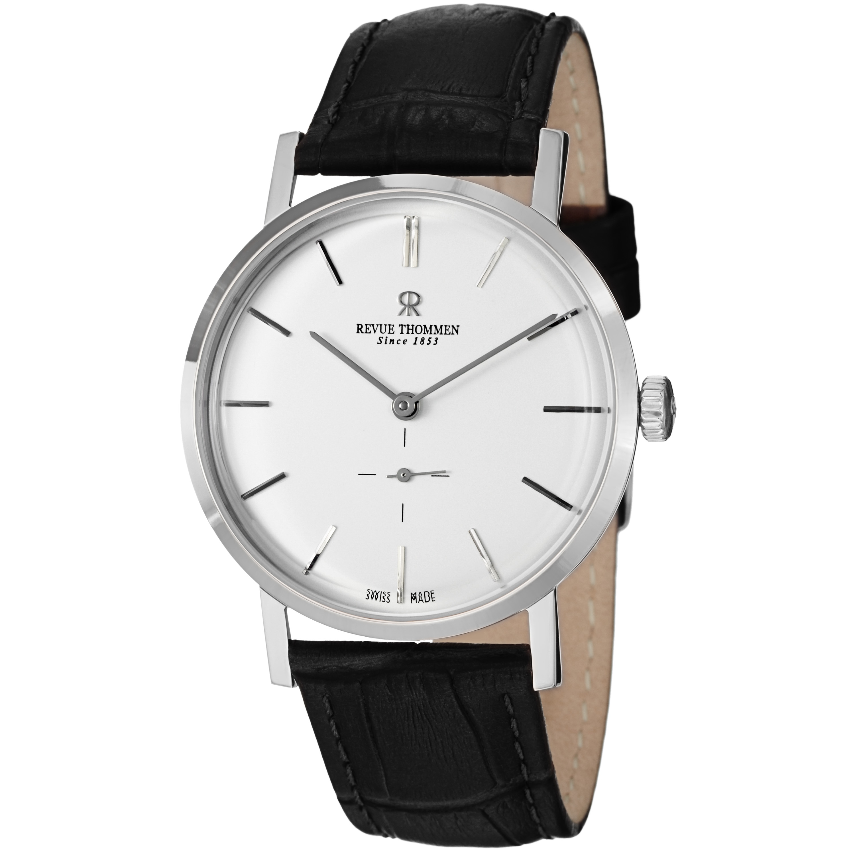 Revue Thommen Men's 'Classic' Silver Dial Black Strap Automatic Watch