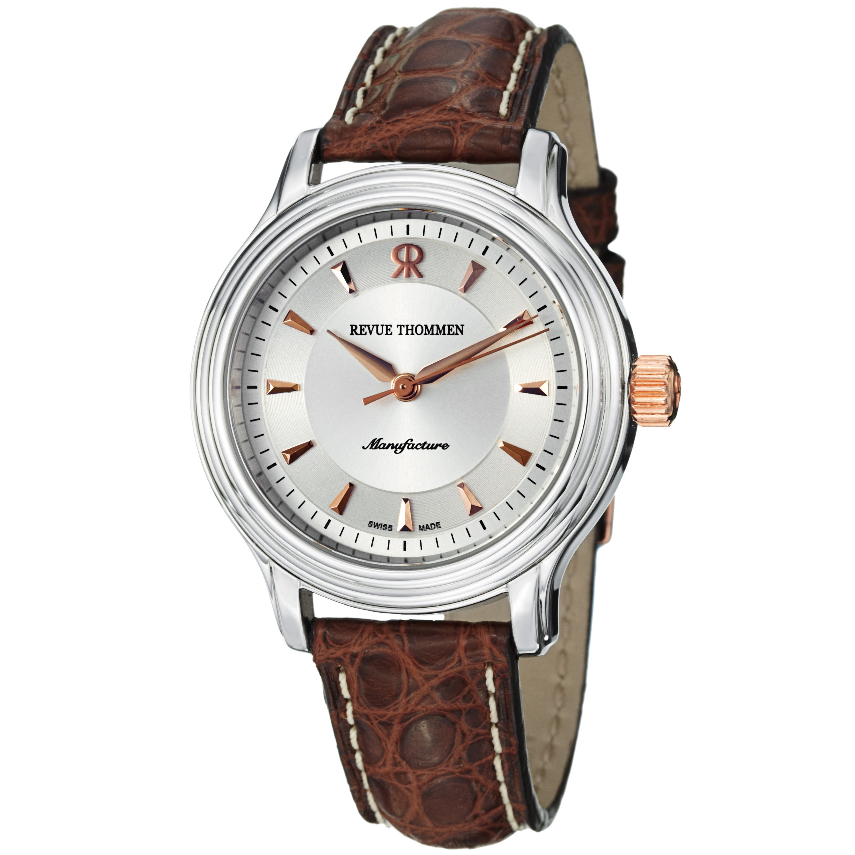Revue Thommen Women's 12500.2552 'Classic' Silver Dial Brown Leather Strap Watch