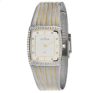 Skagen Women's Square Dial Two-tone Mesh Watch