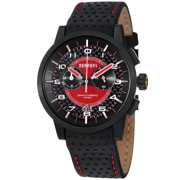 Ferrari Men's FE-11-IPB-CP-RD 'Granturismo' Black Dial Black Strap Chronograph Watch