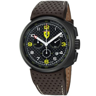 Ferrari Men's FE-10-IPGUN-CP-FC 'Classic' Black Dial Brown Leather Strap Quartz Watch
