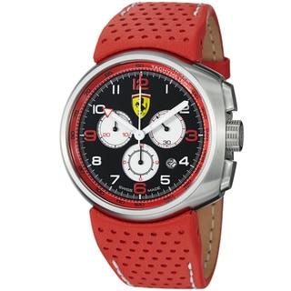 Ferrari Men's 'Classic' Black Dial Red Leather Strap Chronograph Watch
