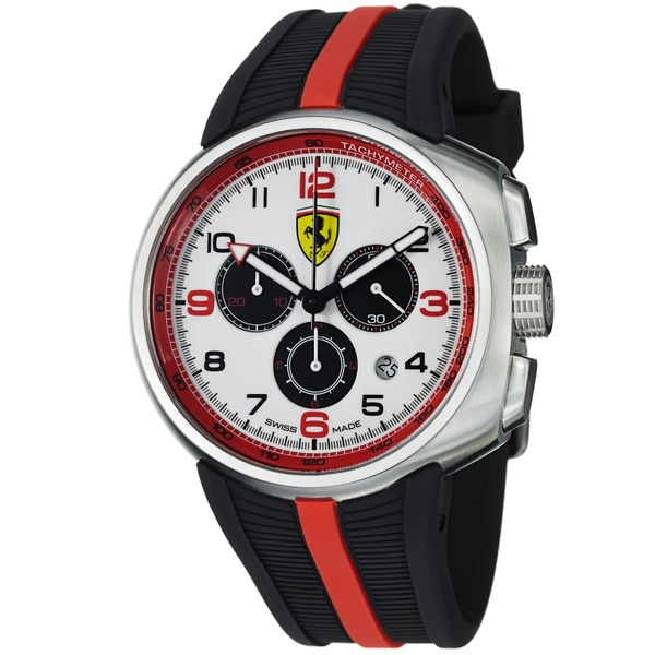 Ferrari Men's FE-10-ACC-CG-WT 'Fast Lap' White Dial Black Rubber Strap Quartz Watch