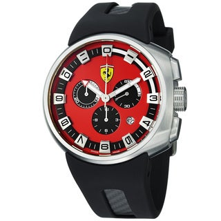 Ferrari Men's 'Podium' Red Dial Black Rubber Strap Chronograph Watch