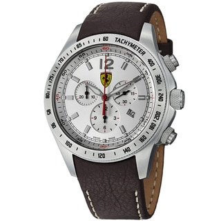Ferrari Men's 'Scuderia' Silver Dial Brown Strap Chronograph Watch
