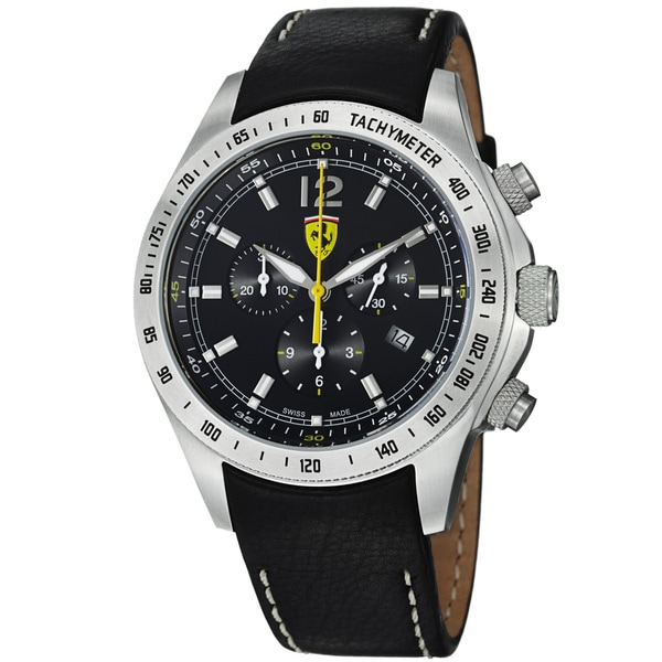 Ferrari Men's FE-07-ACC-CP-BK 'Scuderia' Black Dial Black Leather Strap Quartz Watch