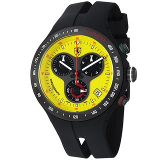 Ferrari Men's 'Jumbo' Yellow Dial Black Rubber Strap Quartz Watch