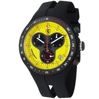 Ferrari Men's FE-06-YW 'Jumbo' Yellow Dial Black Rubber Strap Quartz Watch