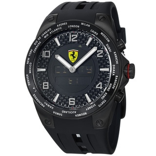 Ferrari Men's FE-05-IPB-FC 'World Time' Black Analog Digital Dial Black Strap Watch