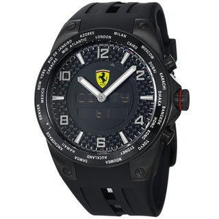 Ferrari Men's 'World Time' Black Analog Digital Dial Black Strap Watch